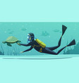 underwater diving sport cartoon poster vector image
