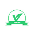 vegan label vegetarian food icon sticker vector image vector image