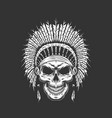 vintage native american indian skull vector image vector image
