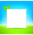 White frame with leaf vector image vector image