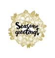 Xmas golden wreath and seasons greetings vector image vector image