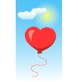 Heart Shape Of Baloon on Blue Sky and White Clouds vector image