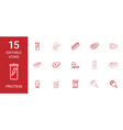 15 protein icons vector image vector image