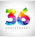 36 anniversary colorful facet logo vector image
