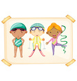 A frame with three sporty kids vector image vector image