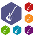 acoustic guitar icons set hexagon vector image vector image