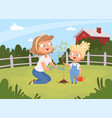 adults help planting kids with parents planting vector image vector image