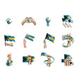 bahamas flag and hand on white background vector image vector image