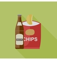 Beer and chips icons vector image vector image