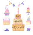 birthday cakes set cherry strawberry cakes vector image