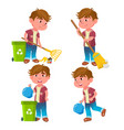 boy kindergarten kid poses set emotional vector image vector image