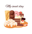 cake and cupcake for sweet day vector image