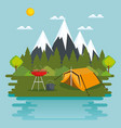 camping zone with tent scene vector image vector image