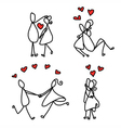 cartoon character happy lovers vector image