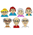 Cartoon smiling senior peoples characters vector image