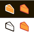 cheese icon on white and black symbols vector image vector image
