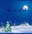 christmas tree and santa sleigh vector image vector image