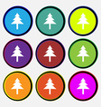 Christmas tree icon sign Nine multi colored round vector image vector image