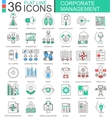 Corporate managment modern color flat line vector image