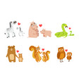 cute animals couple dad and baby vector image vector image