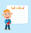 cute little red-haired boy with a blank poster for vector image vector image