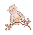 cute owl on a branch spring kids vector image
