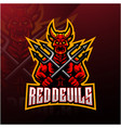 devil holds trident esport mascot logo vector image vector image