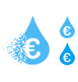 dissipated dot halftone euro fuel drop icon vector image
