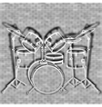 drum set against the backdrop of a brick wall vector image vector image
