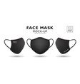 face mask fabric black mock up front and side vector image vector image