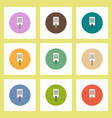 flat icons set of sheet of paper and pen concept vector image vector image