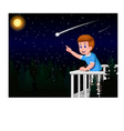 handsome boy look falling star in night vector image vector image