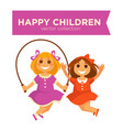 happy children girls jumping jump rope playing vector image vector image