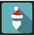 Hat with pompom and beard of Santa Claus icon vector image vector image