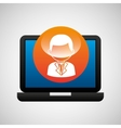 laptop icon character man social media vector image vector image
