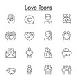 love icons set in thin line style vector image vector image