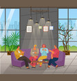 man and woman drinking coffee and playing vector image vector image