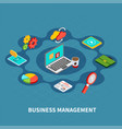 management round isometric composition vector image