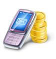mobile phone and coins vector image vector image