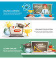 online education horizontal banners vector image vector image