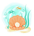 open orange sea shell with shiny pearl underwater vector image vector image