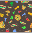 pattern seamless set fast food and drink no vector image vector image
