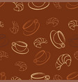 pattern with coffee and croissant vector image