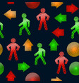 pattern with pedestrian traffic lights red and vector image