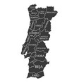 portugal map labelled black vector image vector image