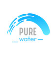 pure water banner with waterfall cascade or vector image