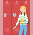 schoolgirl with pigtails is holding books in hand vector image vector image