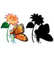 set butterfly cartoon vector image
