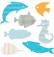 set fish silhouettes with simple patterns vector image