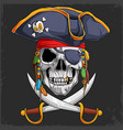 skull head in pirate hat with two crossed swords vector image vector image